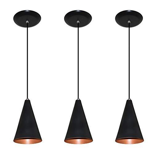 Kit 03 pendentes de alumínio modelo cone - ideal para balcão/bancada - Preto com Cobre