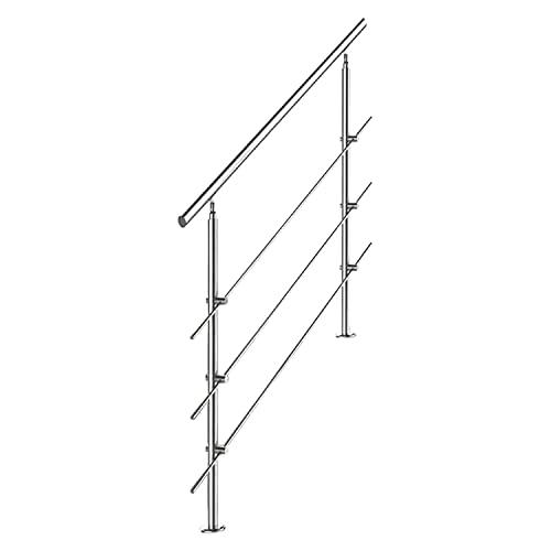 hengda Pasamanos escalera Inoxidable Barandilla 150cm acero 3 varillas Parapeto Barras Transversales