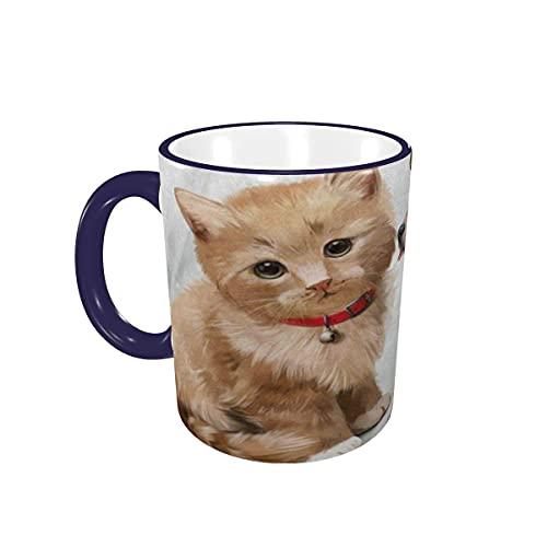 Taza de café Hipster Cat Dog Acuarela Pintura Tazas de café Tazas de cerámica con Asas para Bebidas Calientes - Cappuccino, Latte, Tea, Cocoa, Cereal, Tea Cup, Coffee Gifts 12 oz,Navy Blue