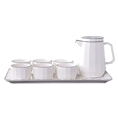 Juego de tazas de café con bandeja de estilo europeo simple para el hogar resistente al calor de cerámica Inglés por la tarde con servicio de cuchara para 6 juegos de té de café TNSY