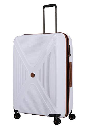 Gepäck Serie PARADOXX: TITAN Hartschalen Trolleys mit Akzenten in Leder Optik, Koffer 4-Rad groß mit TSA Schloss, 833404-80, 76 cm, 110 Liter, White (Weiß)