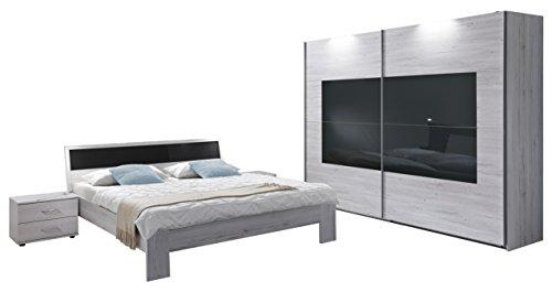 Wimex Schlafzimmer Set mit Bett, Nachttisch/ Nachtschrank 2-er Set, Kleiderschrank/ Schwebetürenschrank Istrien, Liegefläche 160 x 200 cm, Weißeiche/ Absetzung Glas Grau
