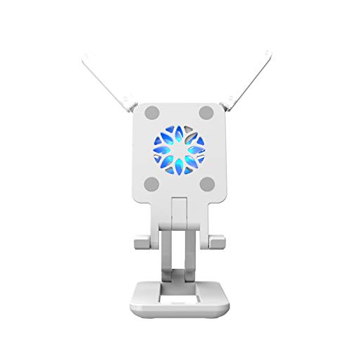 Andoer Smartphone Stand Phone Holder Tablet Bracket with Cooling Fan Fill-in Lights for Live Streaming Online Video Chatting Singing, Max.25.5cm