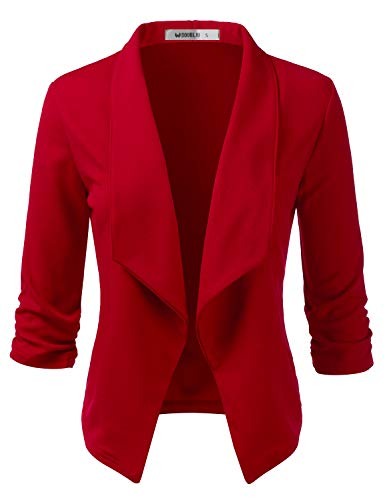 Doublju Womens Casual Work 3/4 Sleeve Open Front Blazer Jacket with Plus Size RED 1X
