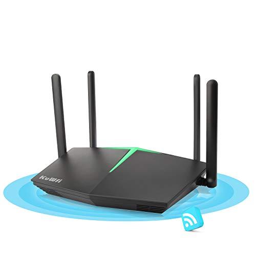 WLAN Router, KuWFi WiFi 6 Router Unterstützt bis zu 1800 Mbit/s, Smart Dual Band WiFi 802.11ax Wireless Internet Gaming Router mit 4 Gigabit Ports Unterstützung