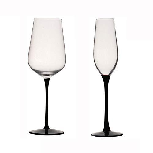 Rode Wijnglas, Zwarte Voeten Champagne Glas Witte Wijnglazen, Thuis Loodvrije Crystal Goblet & ndash; voor Wijnproeverij, Bruiloft, Jubileum, Feest, Bar, Cadeau, 502Ml/210Ml Geen merk