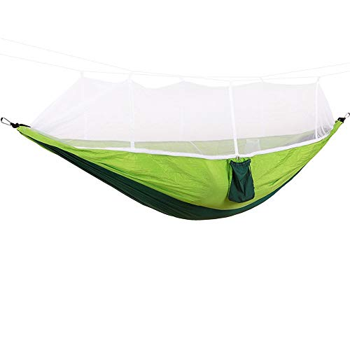 Heqianqian-Home Hamac Portable Hamac de Camping en Plein air avec moustiquaire Double Couleur Simple Anti-Moustique Swing 5 Patio De Camping sur La Plage (Color : A, Size : 260cm x 140cm)