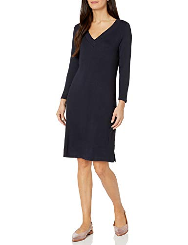 Amazon Brand – Daily Ritual Women's Supersoft Terry Long-Sleeve V-Neck Dress