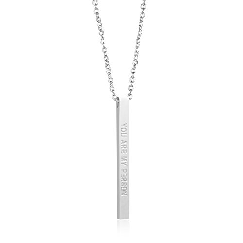 Joycuff Friendship Jewelry Vertical Bar Necklace Sister Best Friend Bridesmaid Gift Engraved Pendant You're My Person
