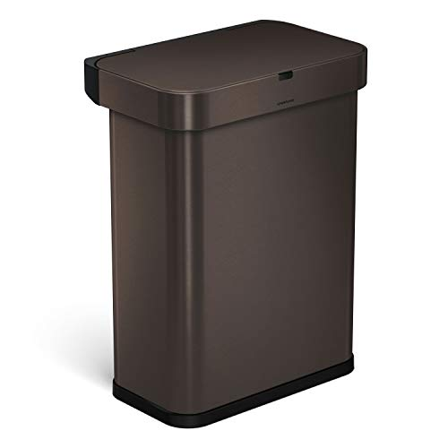 simplehuman 58 Liter / 15.3 Gallon Stainless Steel Touch-Free Rectangular Kitchen Sensor Trash Can with Voice and Motion Sensor, Voice Activated, Dark Bronze Stainless Steel