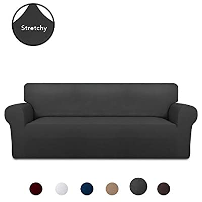 PureFit Super Stretch Chair Sofa Slipcover – Spandex Non Slip Soft Couch Sofa Cover, Washable Furniture Protector with Non Skid Foam and Elastic Bottom for Kids, Pets ?Sofa? Dark Gray?