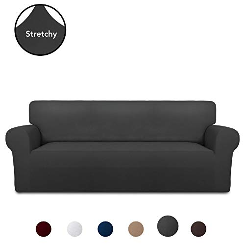 PureFit Super Stretch Chair Sofa Slipcover – Spandex Non Slip Soft Couch Sofa Cover, Washable Furniture Protector with Non Skid Foam and Elastic Bottom for Kids, Pets (Sofa, Dark Gray)