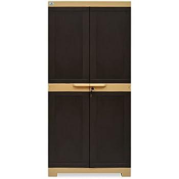 Nilkamal Freedom Mini Medium (FMM) Plastic Storage Cabinet (Weathered Brown & Biscuit)