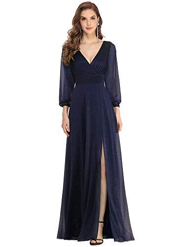 Ever-Pretty Vestiti da Cerimonia Donna Elegante Manica Lunga Scollo a V Abito da Sera Stile Impero...