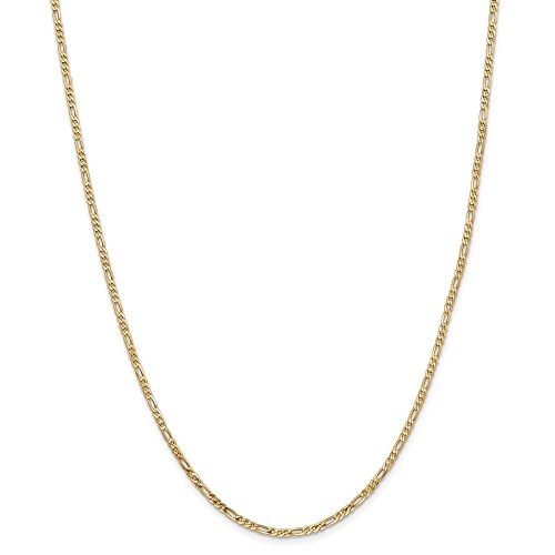 Diamond2deal 14K giallo oro 2.25mm piatto Figaro catena 55,9cm