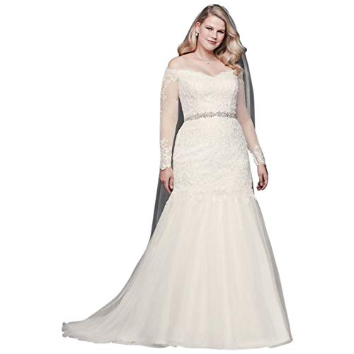 David's Bridal Long Sleeve Off-Shoulder Plus Size Wedding Dress Style 9WG3943, White, 22W