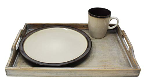 Vintage Rustic Torched Wood Country Nesting Breakfast Trays – White Washed Tray Set For Serving Breakfast, Coffee, Lunch, or Dinner – 3 Piece
