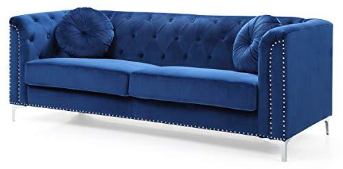 Glory Furniture Pompano Sofa, Navy Blue. Living Room Furniture, 31' H x 83' W x 34' D