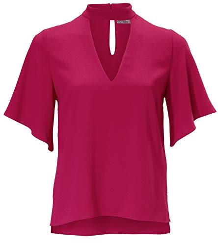 Ashley Brooke Bluse Stehkragen-Bluse effektvolle Damen Kurzarm-Bluse mit Seitenschlitzen Party-Bluse Freizeit-Shirt Pink, Größe:42