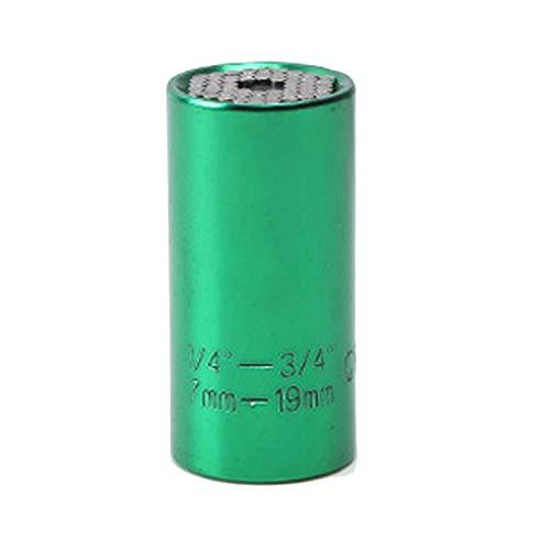 HLSP 7-19mm 3/8 Buje de llave universal, cabezal de torsión Socket Socket Socket Spanner, herramienta de agarre mágica Multifunción llave de zócalo (Color : Green)
