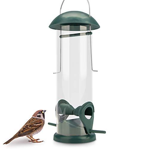 WILDLIFE FRIEND | 20cm Körner Vogelfutterspender grün – mit 2 Anflugplätzen, Vogel Futterstation, Futtersäule, Körner Wildvögel Futtersilo
