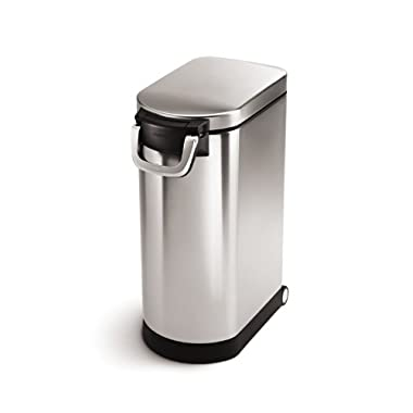 simplehuman X-Large Pet Food Storage Can, Brushed Stainless Steel, 35 L, 40 lb/18.1 kg