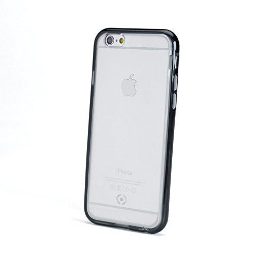 Celly Bumper Cover Fluo con Bordi Colorati per iPhone 6/6S, TPU, Nero
