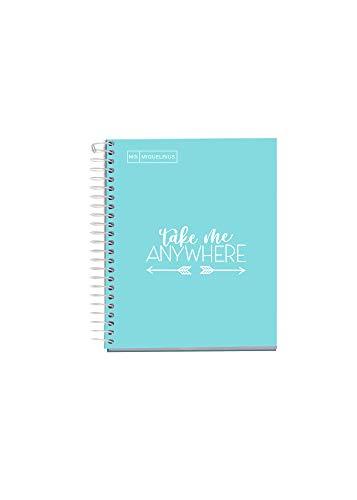 MIQUELRIUS - Cuaderno Notebook Messages - 1 franja de color, A5, 100 Hojas cuadriculadas de 5mm, Papel 90 g, 2 Taladros, Cubierta de Cartón Extra Duro, Color Azul Cielo