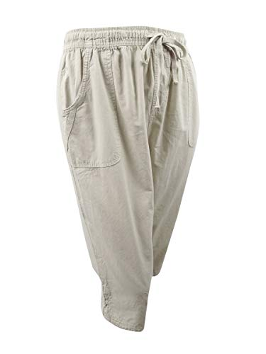 Karen Scott Womens Plus Cotton Comfort Waist Capri Pants Beige 3X