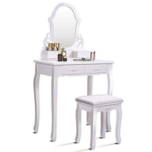 Costway Coiffeuse Table de Maquillage en MDF et en Pin avec Miroir Tabouret et 4 Tiroirs de Rangement 75x40x135cm Blanc