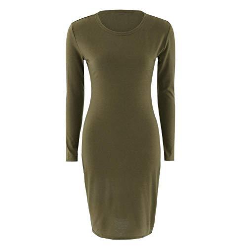 Vestidos De Fiesta Vestir Dress Mujer Niña Vestido De Mujer Bata De Manga Corta Vestidos De Oficina Sexy Mini Vestido De Lápiz Verde Militar Negro-Army_Green_L_Sleeve_M
