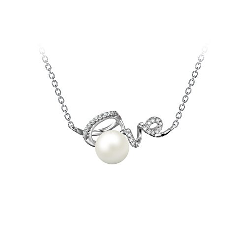 JewelryPalace Liebe Runde 8mm Süßwasser Zuchtperle Damen Kette Choker Halskette 925 Sterling Silber 45 Cm