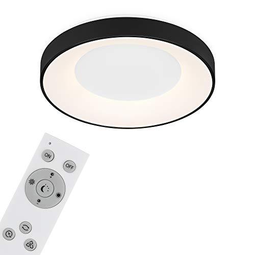 Briloner Leuchten Lámpara, luz de Techo LED Regulable, Remoto Incl, Control de Temperatura de Color, función de Temporizador, 36 vatios, 3.600 lúmenes, Blanco/Negro, Ø 48,4cm