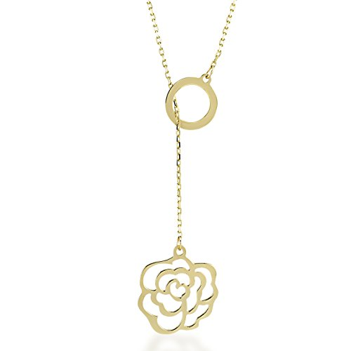 GELIN Rose Flower Pendant Y Necklace in 14k Solid Gold | Lariat Necklaces for Women