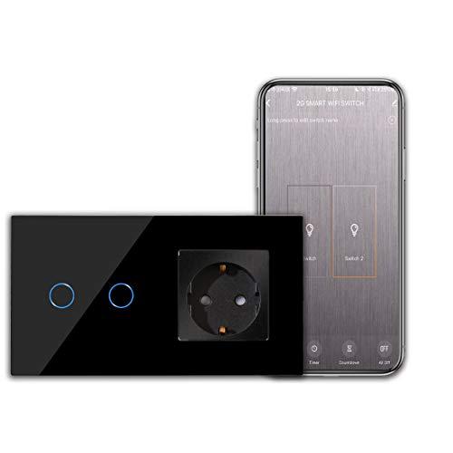CNBINGO Interruptor de luz wifi con enchufe Interruptor táctil inteligente de Dos teclas simple táctil negro con Alexa/Google Home, control de la aplicación Smart Life necesita línea de neutro