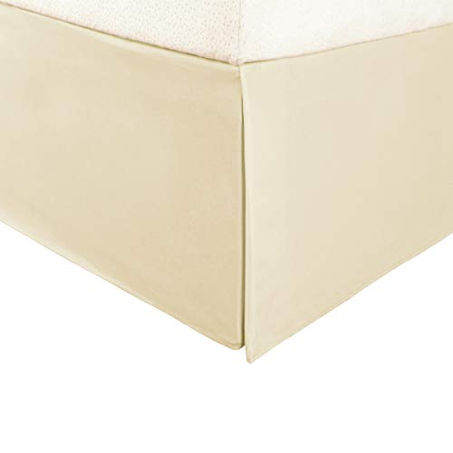 "SUPERIOR Twin XL Bed Skirt 15"" Drop, Wrinkle Free Microfiber Dust Ruffle, Beige"