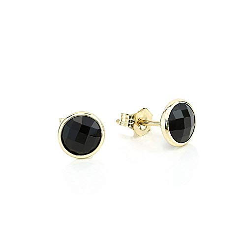 14K Yellow Gold Handmade Gemstone Stud Earrings With 6 MM Round Black Onyx Gemstones