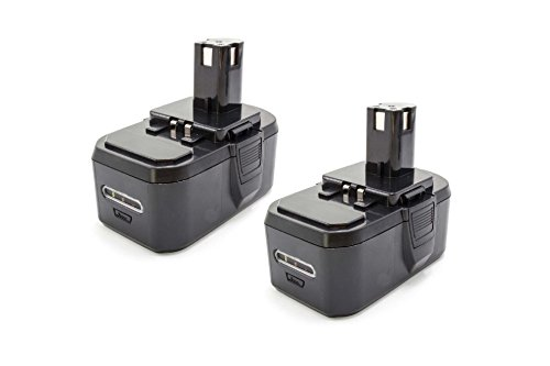 vhbw 2X NiMH Batterie 1300mAh (18V) pour Outil électrique Outil Powertools Tools Ryobi CCS-1801/DM, CCS-1801/LM, CCS-1801D, CCW-180L, CDA1802