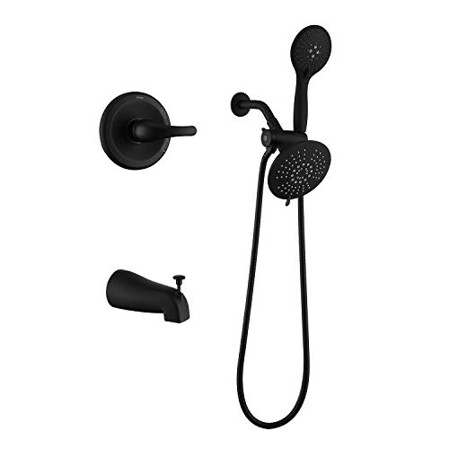 AIHOM 2 Shower head System(Valve Included), Black Shower Trim Kit With Top Spray,5 Function Hand Shower And Tub Faucet