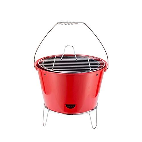 31cx6YPV81L. SL500  - Grills Kochplatten Barbecue verdickte Garten Holzkohle-Rack Runde Barrel Herd Aussen tragbare Mini- Grillzubehör (Color : Red)