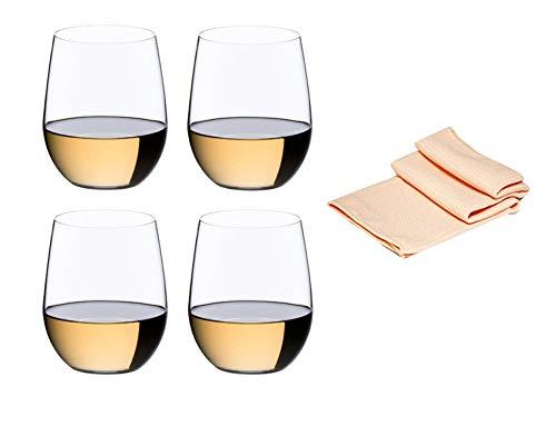 Wittewijnglas 0414/05 set van 4 voor witte wijn zoals Chardonnay en viognier in decoratieve rotset met glasreinigingsdoek