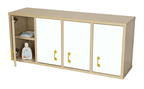 Casillero Mobeduc 600711HS23-Mobile con 8 caselle con porta, in legno, colore: faggio/bianco, 100 x 28 x 42 cm