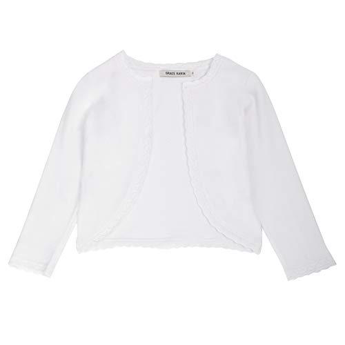 GRACE KARIN Girls Shrug for Dress Long Sleeve Knit Bolero Jacket for Girls White 8Years