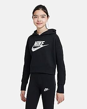 Nike G NSW Crop Hoodie FILL, Sweatshirt à Capuche Fille, Opacity, Black, Jaspo_s