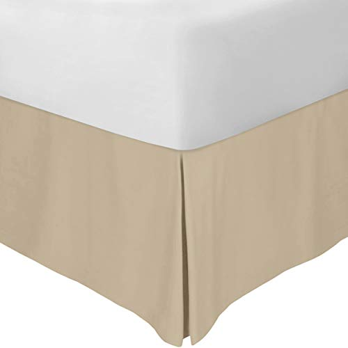 Utopia Bedding Bed Skirt - Soft Quadruple Pleated Dust Ruffle - Easy Fit with 16 Inch Tailored Drop - Hotel Quality, Shrinkage and Fade Resistant (Queen, Beige)