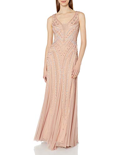 Adrianna Papell Women's Beaded Plunging V Neck Gown, Rose Gold, 6 (Apparel)
