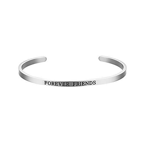 JewelryWe Schmuck Armreif mit Gravur Damen Inspiration Freundschaft Armband Edelstahl Armspange Verstellbar mit Spruch Friends Forever Silber