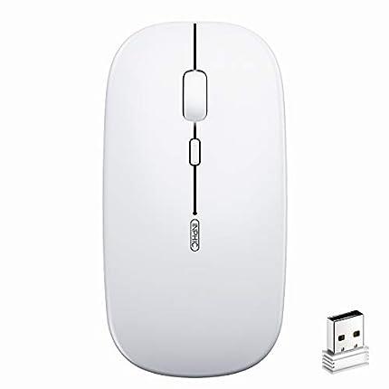 Ratón Inalámbrico Recargable, Silencioso Infame Ratón óptico Silencioso Click Mini, Ultra Delgado 1600 dpi para Computadora Portátil, PC, Portátil, Computadora, Macbook (Luz Blanca)