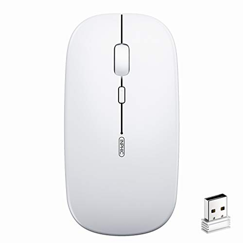 Mouse Wireless Ricaricabile, inphic Mouse Ottico Mini Silenzioso Con Clic Mute, 1600 Dpi Ultra Sottile Per Notebook, PC, Laptop, Computer, Macbook (Bianco chiaro)