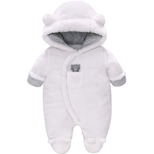 Vine Baby Schneeanzüge Winter Fleece Overall mit Kapuze Mädchen Jungen Strampler Footed Jumpsuit, Weiß 3-6 Monate